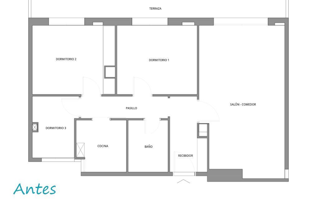 Plano de antes estado actual del piso reforma
