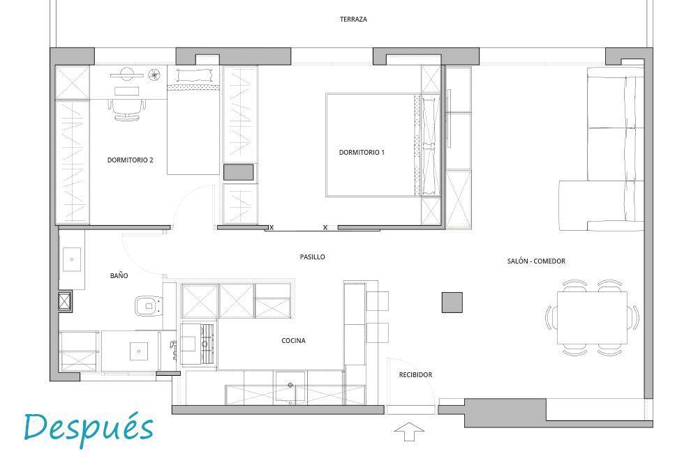 Plano de después distribución interior del piso reforma