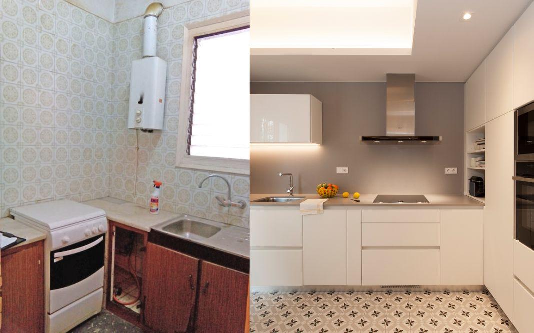 Antes y después cocina cocina en mal estado a cocina de diseño moderno