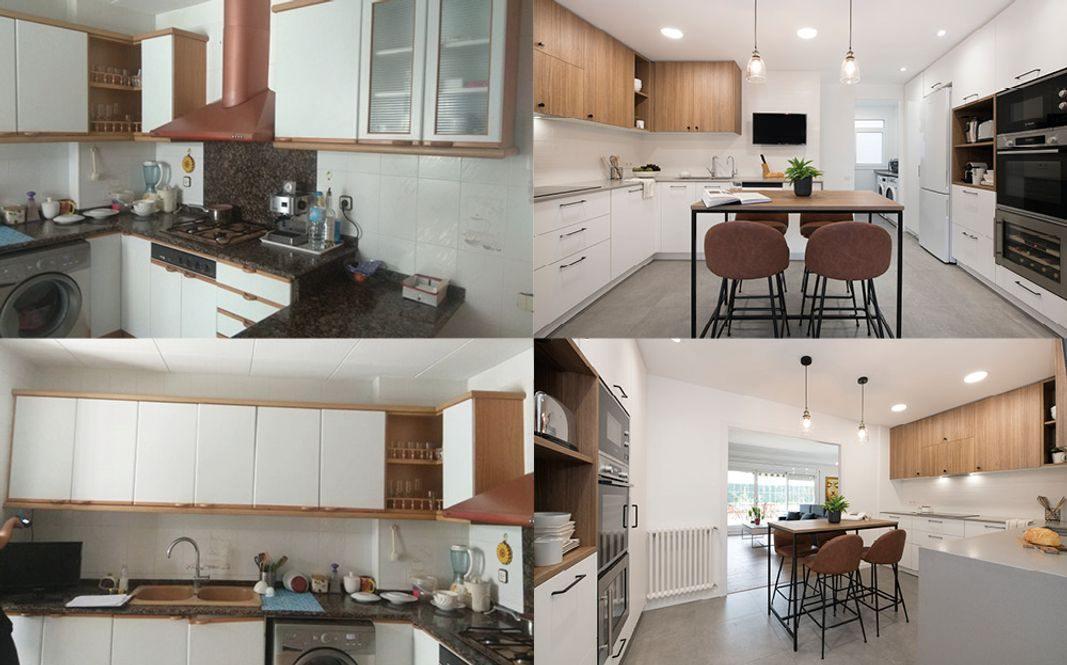 Antes y después cocina semiabierta apertura pared. En blanco y madera
