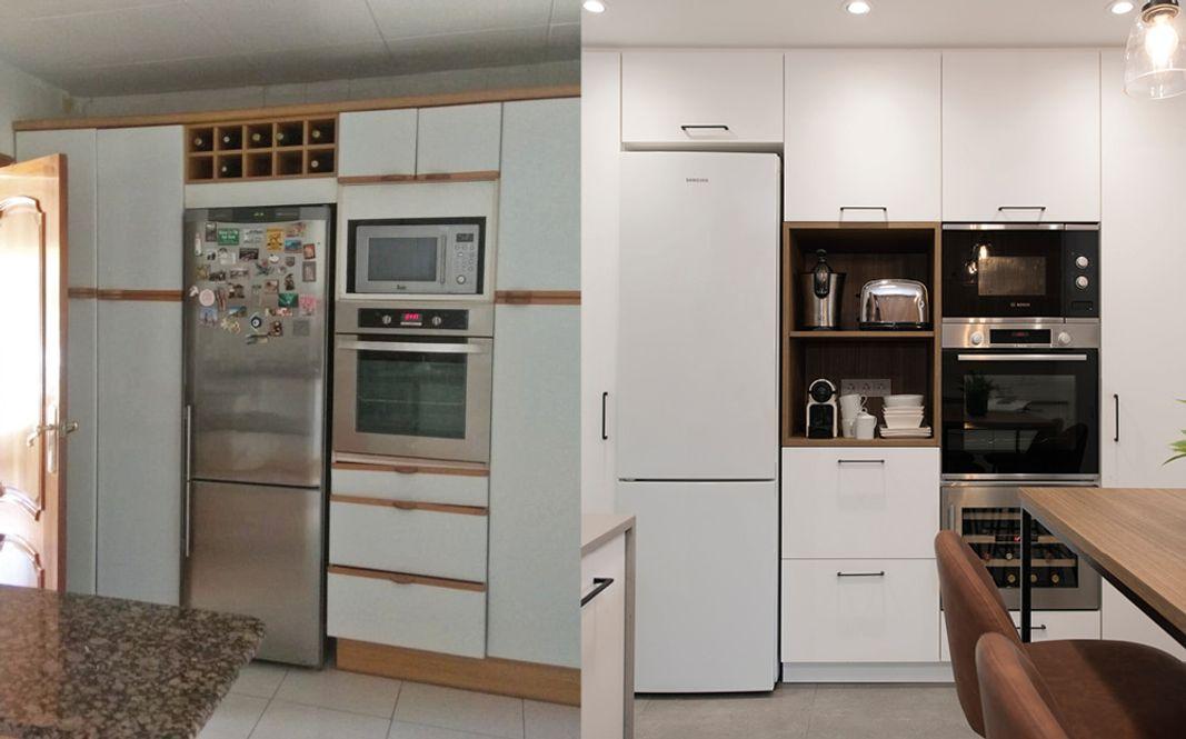 Antes y después cocina muebles columna con electros integrados