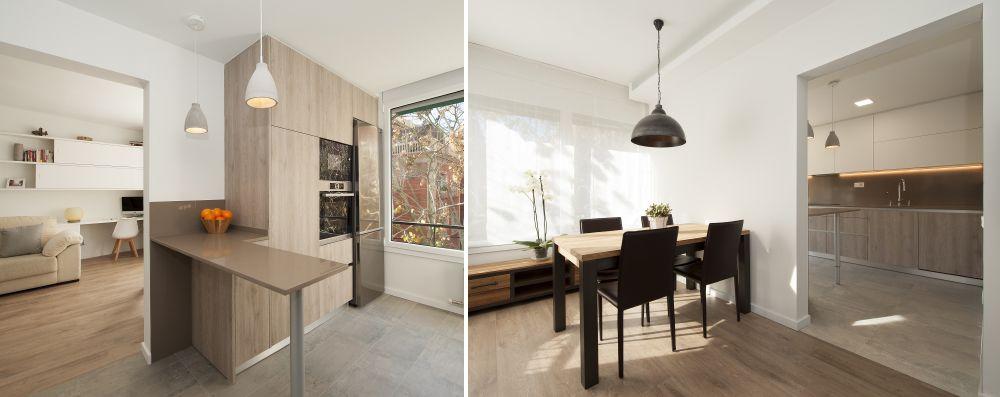 Cocina semi abierta por un hueco en la pared