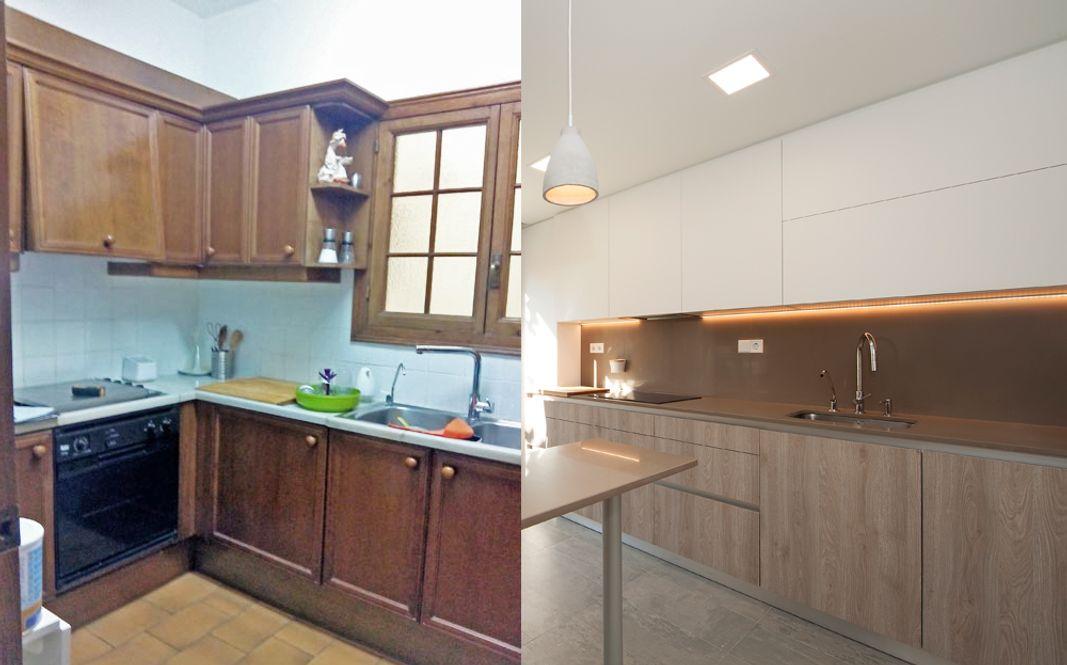 Antes y después cocina con un aspecto más moderno.