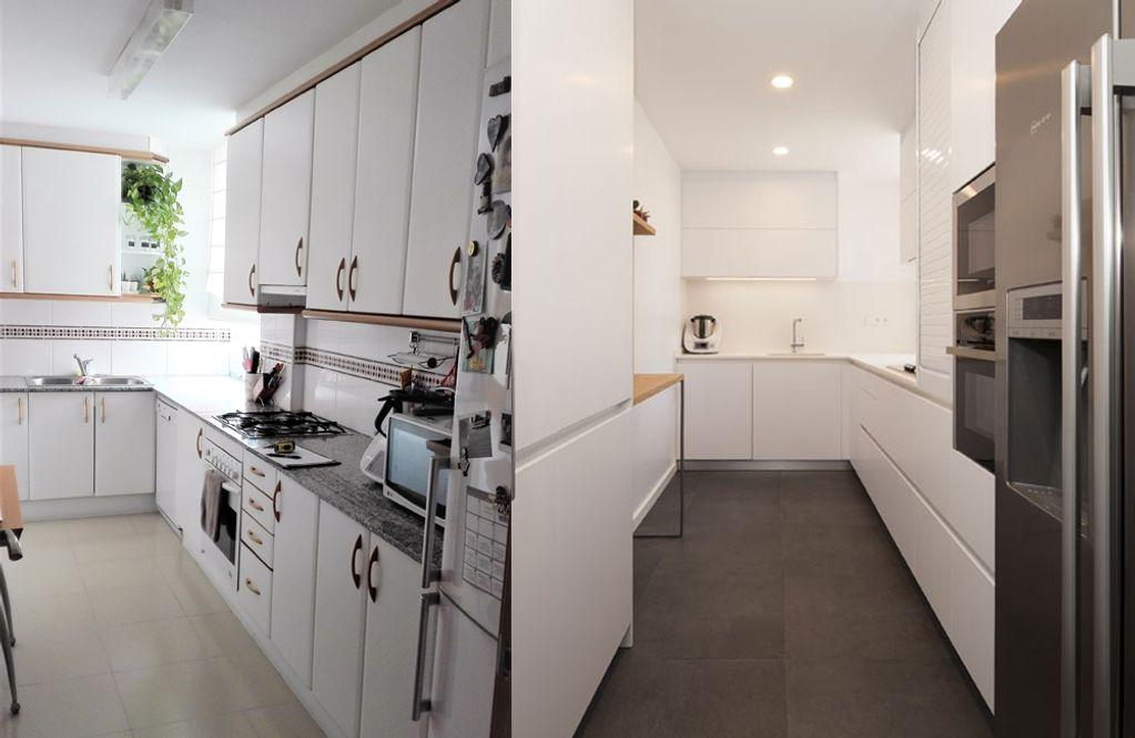 Antes y después cocina minimalista moderna de color blanco. Sincro