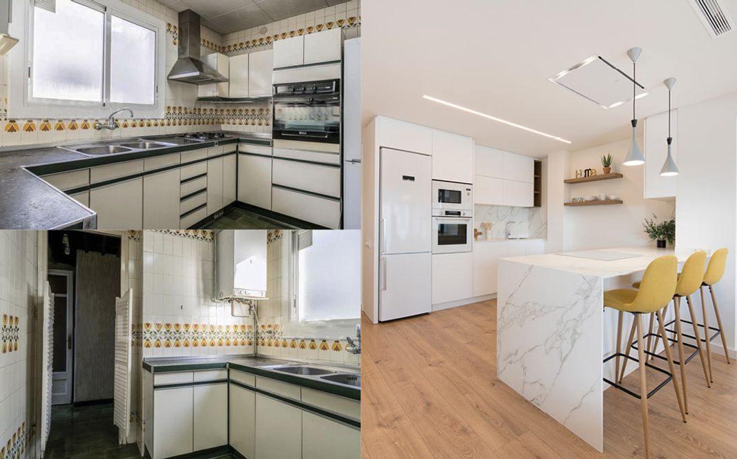 Antes y después de cocina antigua a mal estado a cocina moderna con península con zona cocción y barra. Sincro Barcelona