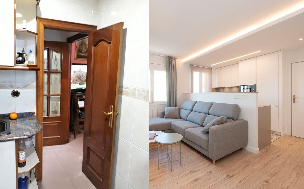 Antes y después cocina pequeña integrada al salón. Sincro Barcelona