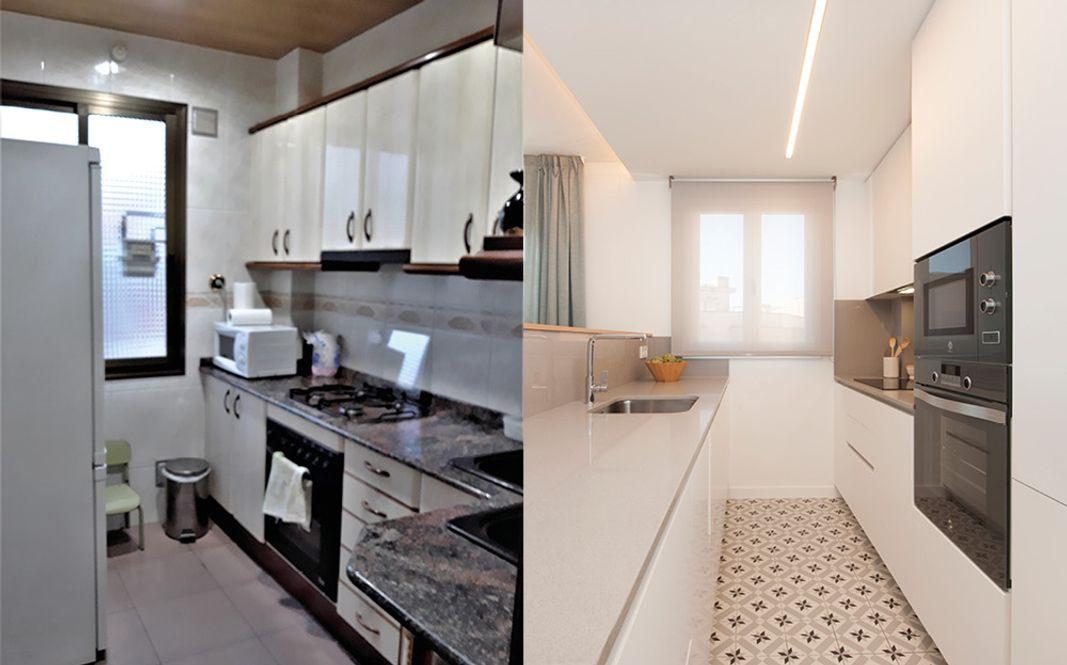 Antes y después cocina pequeña pasada de moda