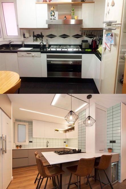 Antes y después cocina con barra con taburetes y fogones. Abrir cocina salón. Sincro Barcelona