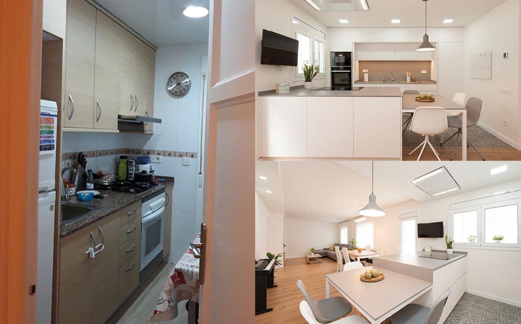 Antes y después cocina ampliación cocina con diseño moderno. Colores blancos y grises. Sincro Barcelona