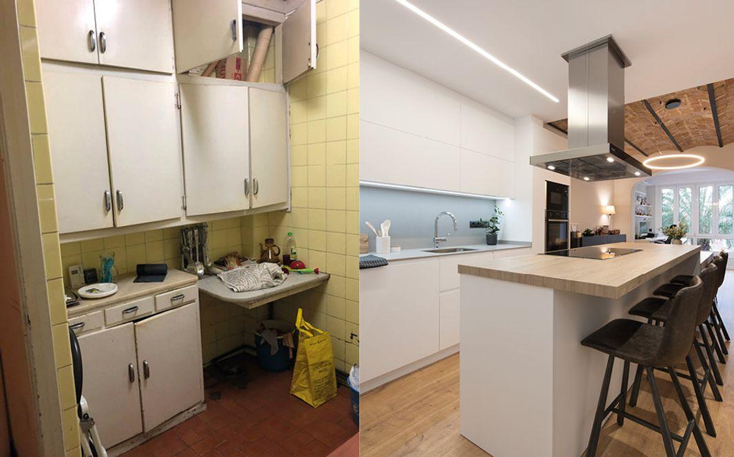 Antes y después cocina en mal estado a cocina abierta con isla con zona de cocción.