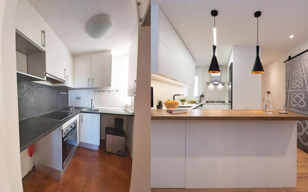 Antes y después reforma cocina cocina en espacio abierto