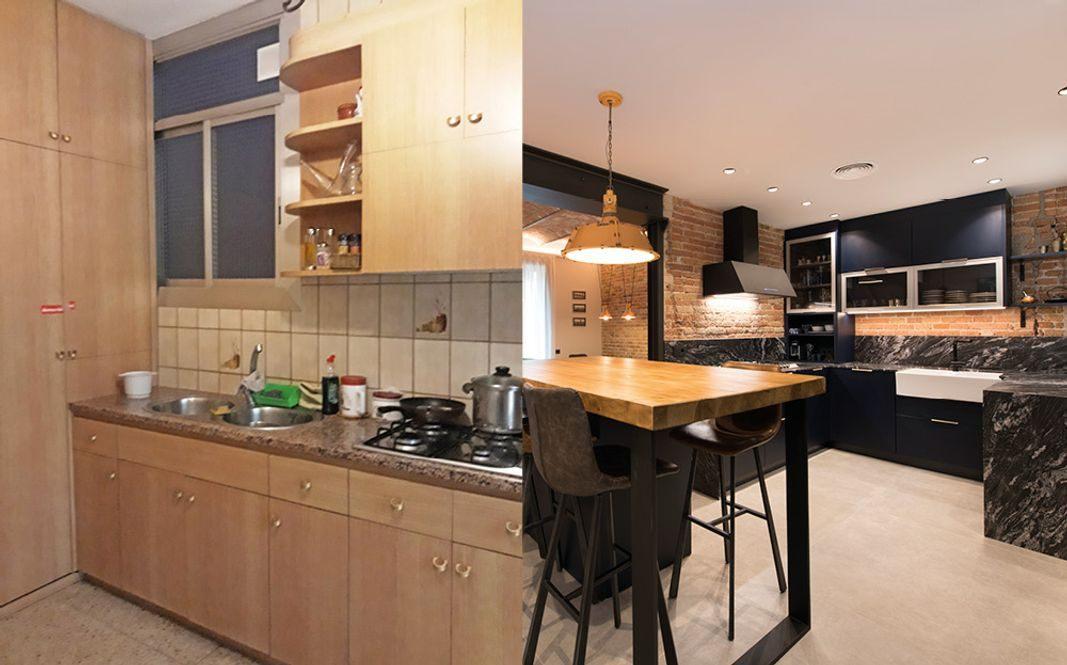 Antes y después reforma cocina de estilo moderno y con toque industrial. Sincro Barcelona