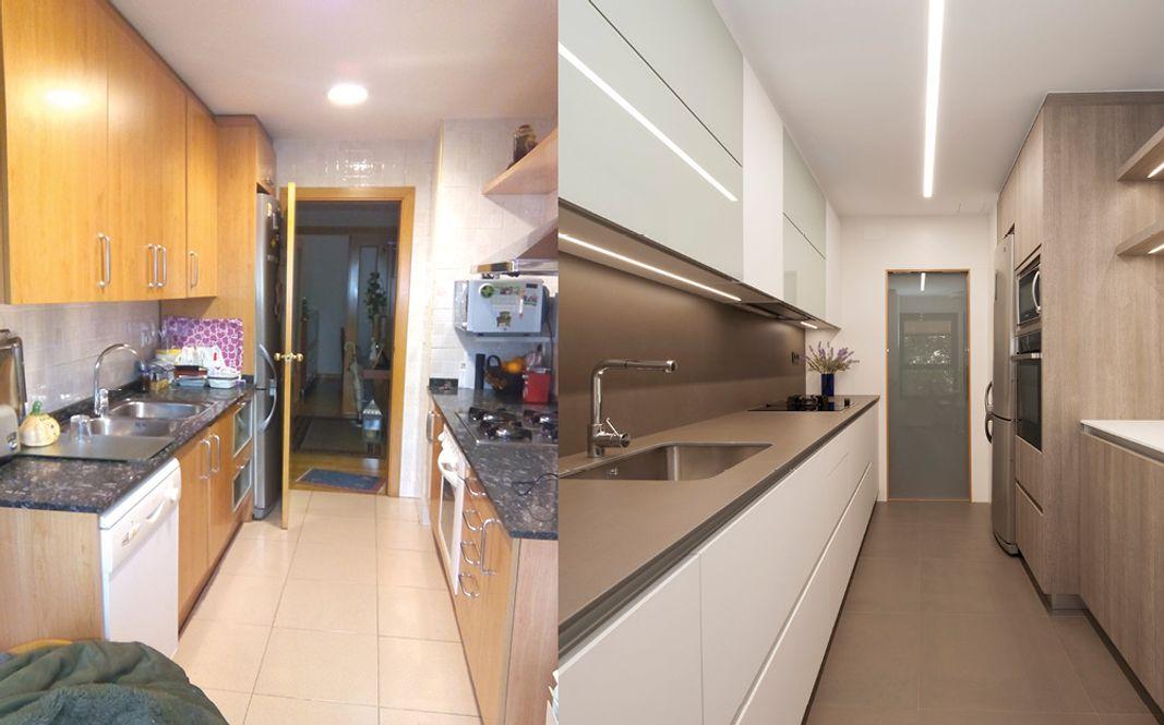 Antes y después cocina cerrada con reforma integral manteniendo distribución en paralelo. Sincro Barcelona
