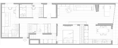 Plano de distribución interior de la reforma de vivienda Bonestar en Cornellà de Llobregat en miniatura - Sincro